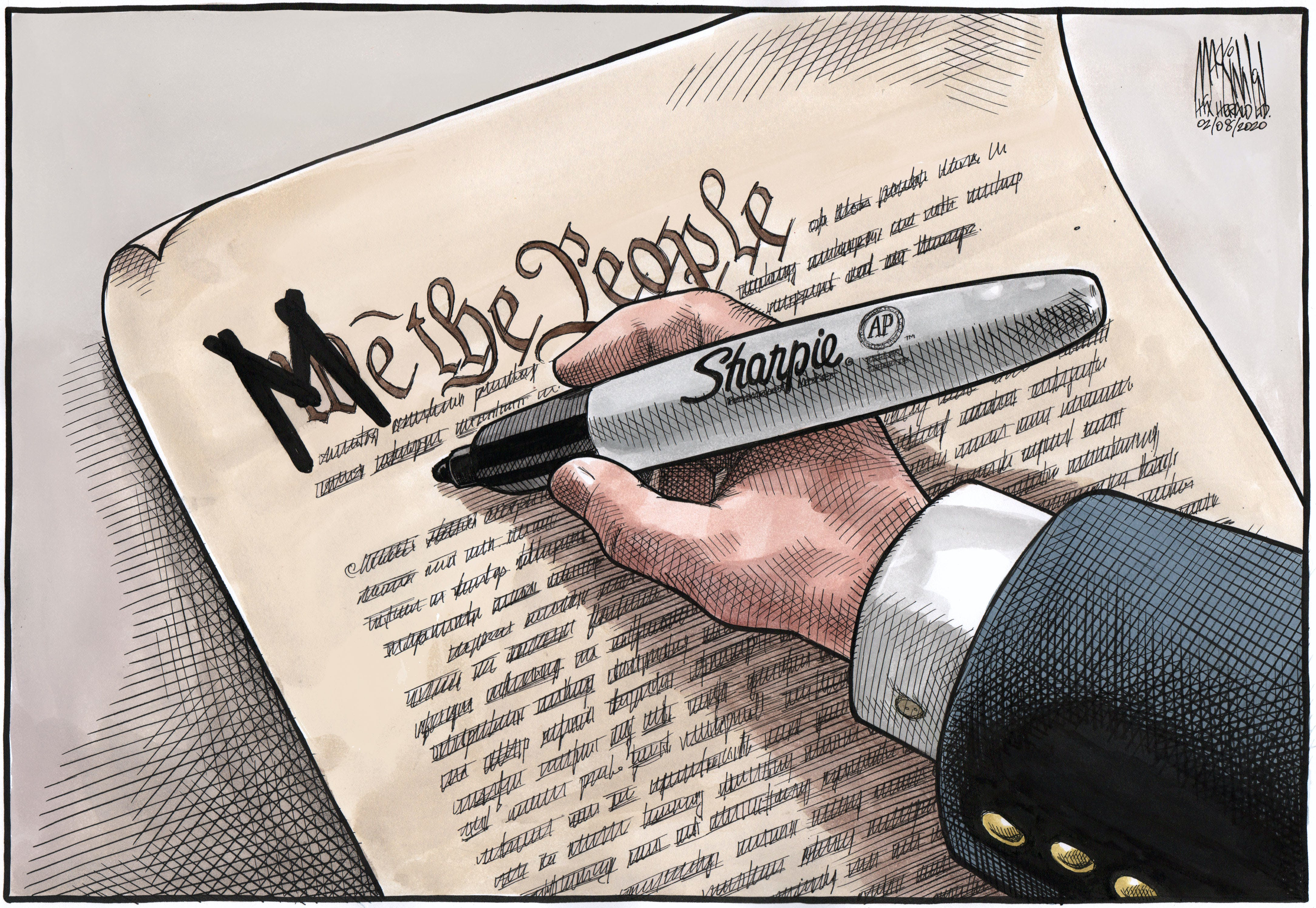 Bruce MacKinnon's editorial cartoon for FEb. 8, 2020. President Donald Trump, United States Constitution, U.S., US, impeachment, acquittal, legal battle, presidential powers, office of the president of the united states.