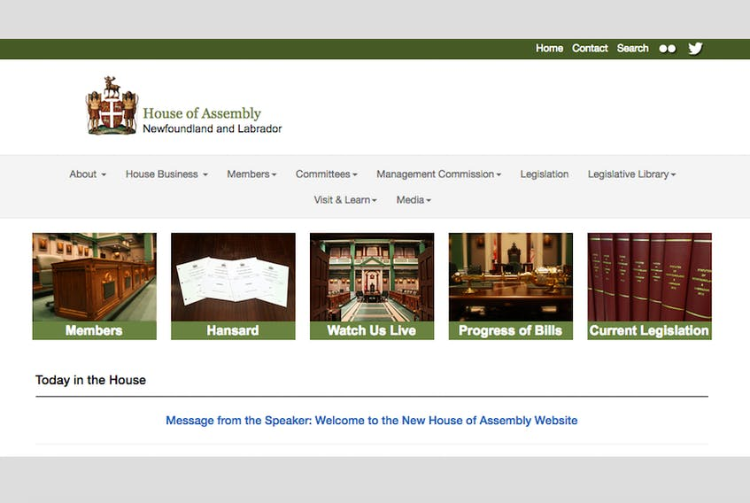 The House of Assembly's website has been redesigned. – www.assembly.nl.ca