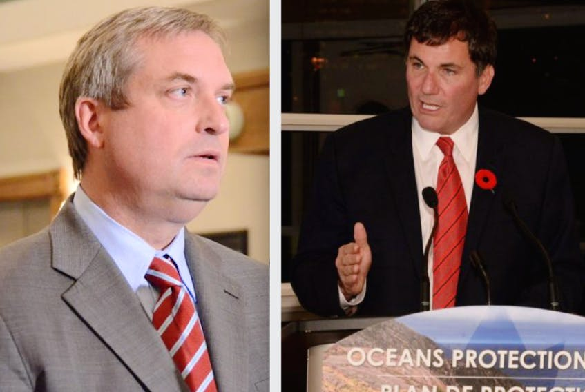 Newfoundland and Labrador Fisheries Minister Gerry Byrne (left) and federal Fisheries and Oceans Minister Dominic LeBlanc are scheduled to meet in New Brunswick on Thursday morning.