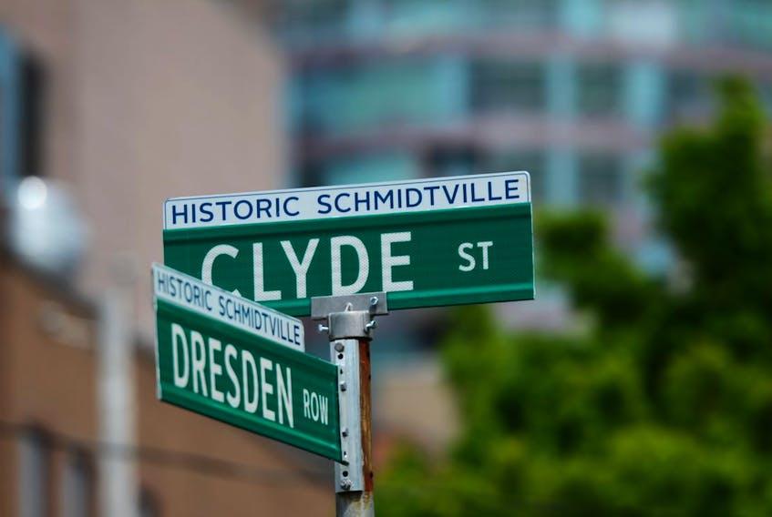 Street signs designate the historic Schmidtville district of Halifax.