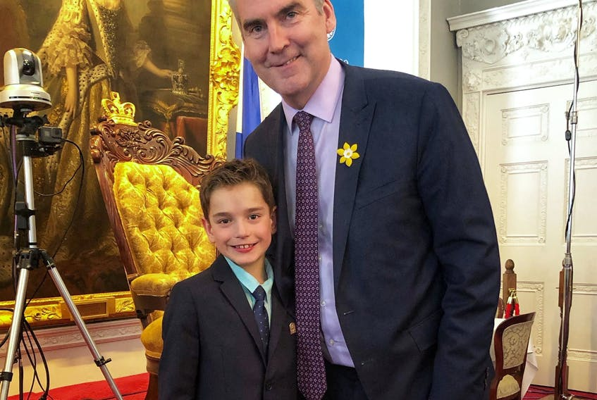 Oxford's Brody Kouwenberg meets with then Premier Stephen McNeil during a visit to the legislature in 2019. He wrote a letter to the premier asking his government to install AEDs in all Nova Scotia schools - something that became reality on Tuesday when Education and Early Childhood Development announced a $700,000 investment to purchase up to 350 automated external defibrillators.