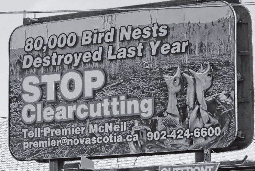 The Margaree Environmental Association has put up billboards in Halifax calling for an end to clearcutting. The association says about 80,000 bird nests were destroyed last year as a result of the practice. TIM KROCHAK • THE CHRONICLE HERALD