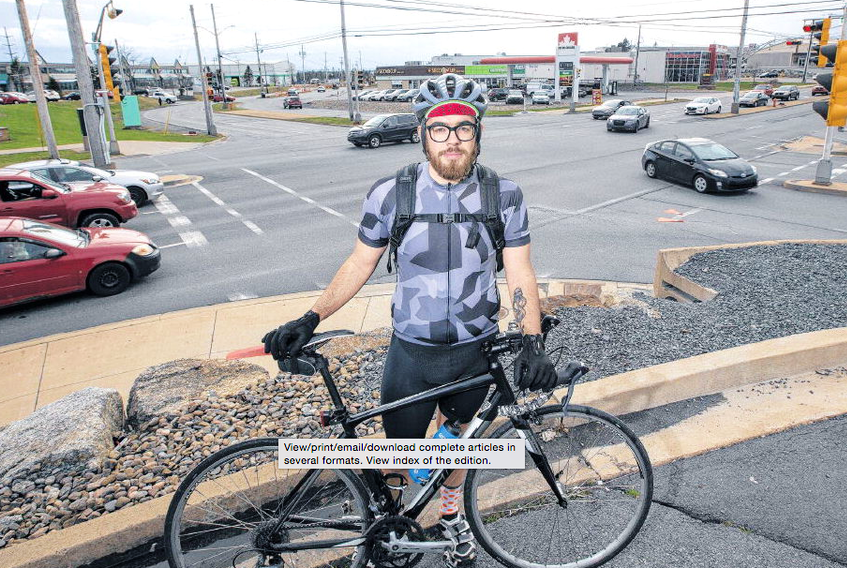 Cyclist Kyle MacKay was struck by a vehicle at this intersection in Bayers Lake Business Park in Halifax last November. ERIC WYNNE • THE CHRONICLE HERALD