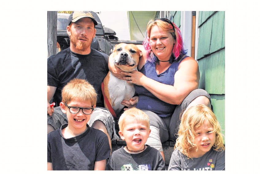 A Canso family has been told by the Municipality of the District of Guysborough to rehome their dog based on genetic testing that indicates the mixed-breed animal is, in part, an American Staffordshire terrier. Pictured from left to right, top: Bradley MacNabb, Chico, and Carrieann Parker; bottom row, William MacNabb, Kayleb MacNabb and Devon MacNabb.