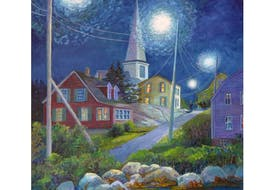"""Joy Laking was inspired by Vincent van Gogh when she painted """"Night Time in Prospect.'"""