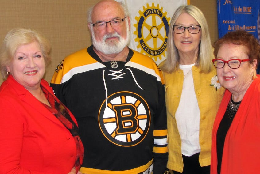 Author Hattie Dyck was guest speaker for Monday's Truro Rotary Club luncheon. From left, Christine Blair, Kevin Quinlan, Barbara Goit and Hattie Dyck