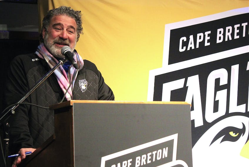 Cape Breton Eagles majority owner Irwin Simon speaks to about 150 people gathered at Centre 200 on Saturday for an team update. Irwin and club president Gerard Shaw are asking ticket holders to help them find way to get more fans into the building.