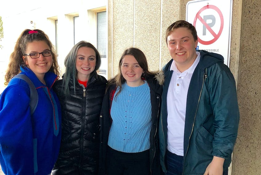 Four of the Cobequid Educational Centre students whose trip to Europe was cancelled due to the spread of COVID-19 are, from left, Maria Matheson, Angèle Hatton, Abby Thornham and Ben Bonell. They understand the reasons for the cancellation but still feel disheartened.