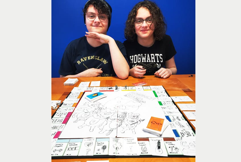 Brown's Arm sisters Cassie (left) and Cora Boyd used their time away from school because of the COVID-19 virus to create a board game based on their favourite video game. Contributed photo  - Saltwire