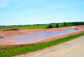 This is an agricultural holding pond in Shamrock, P.E.I. On Tuesday, a non-binding motion that would prohibit construction of new holding ponds passed in the legislature by a margin of 15 to 10.