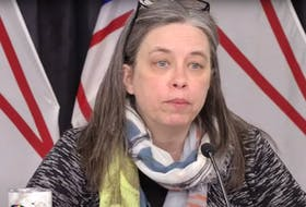 Dr. Janice Fitzgerald answers a reporter's question during Wednesday's provincial COVID-19 briefing. — YouTube screengrab