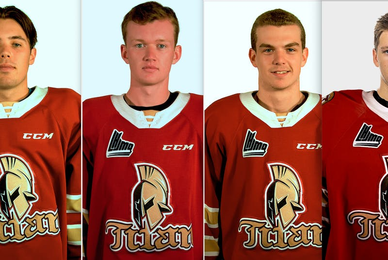 There are four Islanders on the Quebec Major Junior Hockey League's Acadie-Bathurst Titan. They are, from left, Bennett MacArthur, Cole Larkin, Zach Biggar and Chad Arsenault. - QMJHL