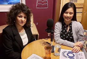 Farahnaz Rezaei, left, interviews Marie Antoinette Pangan, right, for the International Women's Day podcast series Choose to Challenge. The series was a project of the P.E.I. Advisory Council on the Status of Women.