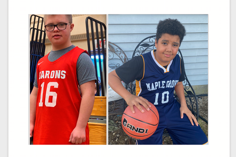 Cameron MacKinnon, #16, on Barrington, and Curtis Middleton, #10, on Maple Grove, were on opposing teams on March 8 but were all part of the same sports goal: sportsmanship and fun. (Left photo: Contributed. Right photo: Tina Comeau photo).
