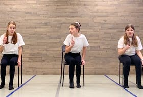 In a video submission, Molly Thompson (left), Olivia Gouthro and Lily Arthurs perform Santa's Little Teapot (Dan Goggin) for the Musical Theatre Trio - 12 and Under category. The festival has gone virtual this year because of COVID.