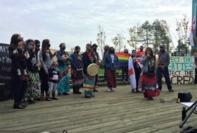 A group of First Nation women and supporters, led by Sipekne'katik Band elder Dorene Bernard, address a crowd on the Halifax Waterfront on Saturday, Sept. 26, 2020. The rally was held to support Sipekne'katik fishers seeking to practice their Treaty rights to earn a moderate livelihood through harvesting lobsters from the Saulnierville wharf. Between 500 and 600 people gathered to listen and participate.