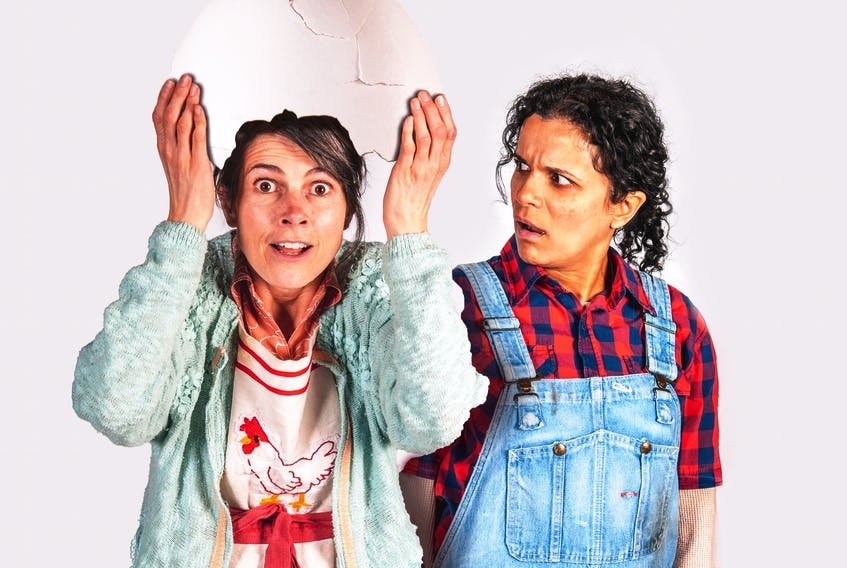 Genevieve Steele (left) and Sharleen Kalayil star in Ship's Company Theatre's production of Mary-Colin Chisholm's Half-Cracked this summer at the Parrsboro-based theatre company. It's one of two main stage productions at the former home of the MV Kipawo.