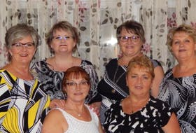 The Mercer sisters of Horwood, in central Newfoundland, are heading to Ontario this week for their upcoming appearance on Family Feud Canada. Comprising Team Mercer are, front row, from left, Joyce Mercer-Miller and Hilda Moss; back row, from left, Wavey Mercer, Dale Mercer, Geraldine Bennett and Gertie Hodder. CONTRIBUTED