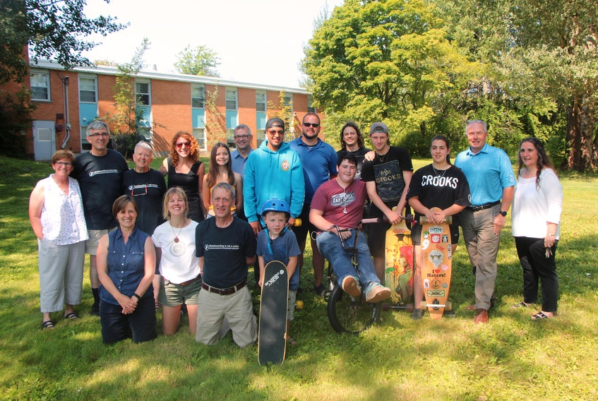 A small number of the many people who celebrated the announcement of a new skate park coming to Antigonish on Aug. 23.
