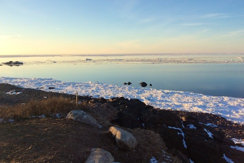 "Marie MacDonald sent this lovely photo of the Northumberland Strait at dusk in the village of Arisaig. She wrote: ""Our home is on a peninsula and we have the ocean on three sides.  We look forward to ice breakup every year.  This year in particular, the ice receding and coming back to shore has been very early.  Let's hope the fishers can bring us our lobsters early as well."" Thank you for the photo!"
