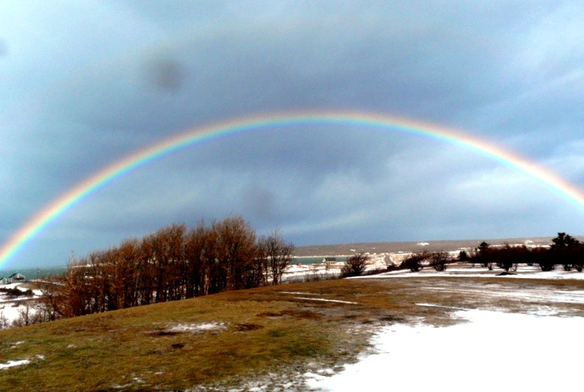 Bill Helliwell took this photo of a rainbow from his kitchen window in Point Cross, N.S. He asked if this is a sign of better days ahead; I'm not sure about the days ahead, Bill, but it looks like you had a lovely day in Point Cross. Thank you for the submission.