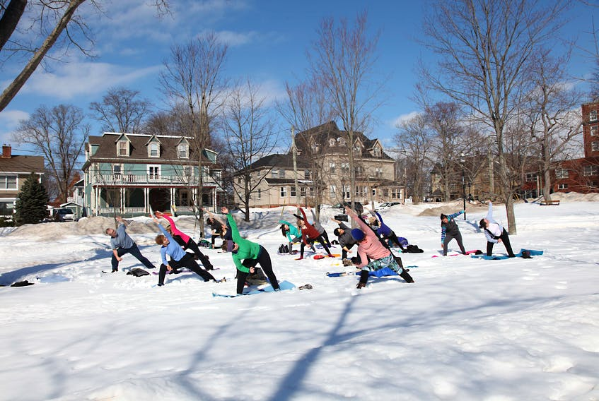 Yoga instructor Cynthia Dennis leads the WinterLove Snoga class in 2017. Snoga is back by popular demand this year and will be held in Rochford Square in Charlottetown on Feb. 16 at noon.