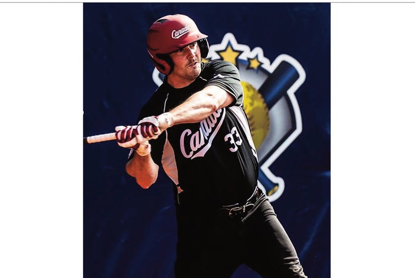 Placentia native Stephen Mullaley delivered Canada's first run with a fourth-inning triple. — WBSC photo
