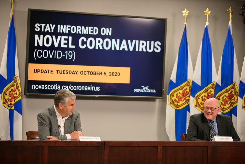 Premier Stephen McNeil (left) and Dr. Robert Strang (right), Nova Scotia's medical officer of health, gave a live COVID-19 update on Tuesday.