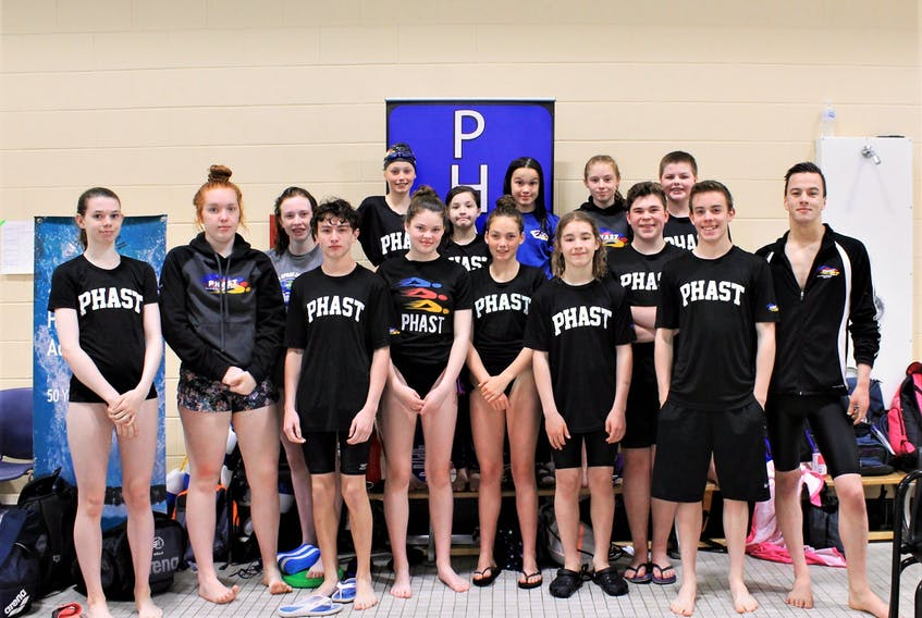 The members of the Port Hawkesbury Antigonish Swim Team (PHAST) for the 2018-19 season. The team placed fourth at the AA Championships held at the Oland Centre June 7 to 9.