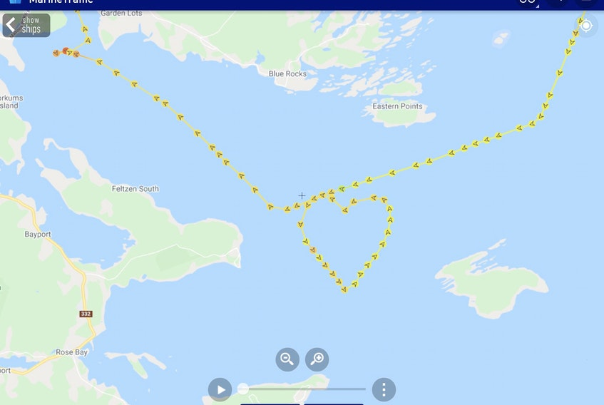 The Bluenose II sailed in the shape of a heart in the Lunenburg Harbour on the last day of its 2020 season on Monday, Sept. 14, 2020, to thank Nova Scotians.