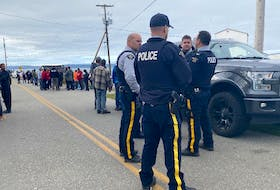 Digby County RCMP on the scene of the Wednesday, Oct. 14 confrontation between commercial and Indigenous fishers in New Edinburgh. On Friday, police arrested and charged Digby County man Chris Gerald Melanson in connection with an assault on Sipekne'katik Chief Mike Sack that took place that day.