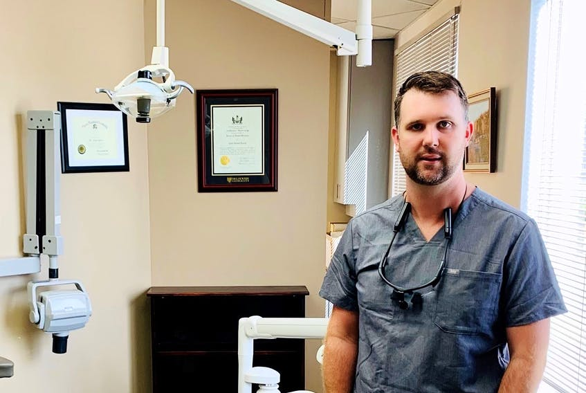 Chad Avery, dentist and president of the Nova Scotia Dental Association, said people should visit the dentist regularly to catch any signs of teeth grinding early on. He is pictured in his clinic on Wednesday Sept. 9, 2020.