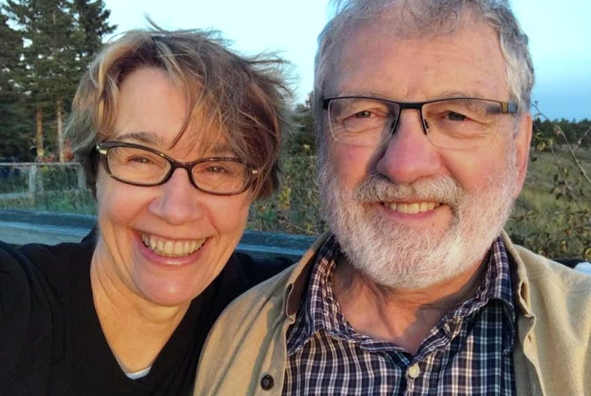 Spouses Catherine Cervin and David Gass smile for a selfie. - Contributed