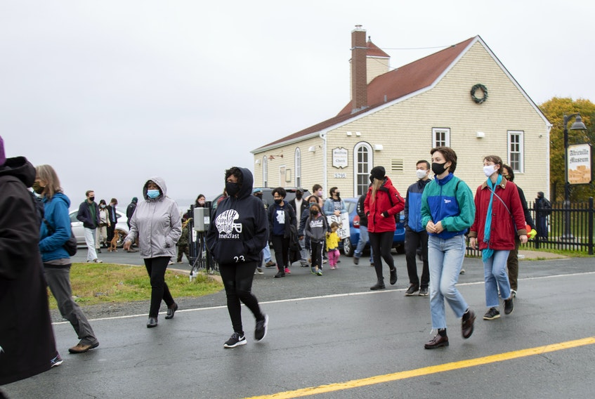 About 100 people in cars and on foot made their way through the north end of Halifax Saturday to protest the continued lack of reparations for the expropriation and demolition of Africville in the 1960s. Amanda Carvery-Taylor/Submitted