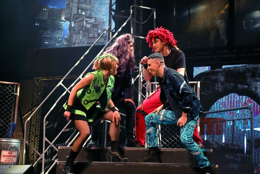 From left, Alysse Ernewein, Keri Kelly, Brian Christensen and Trevor Coll perform Headlong in the North American touring version of the Queen musical theatre show We Will Rock You. - Randy Feere