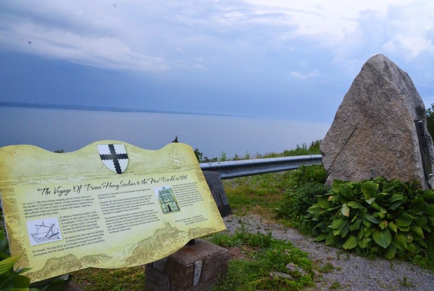 Pictured is a monument to Henry Sinclair's alleged journey across the Atlantic Ocean in Halfway Cove, Guysborough County.