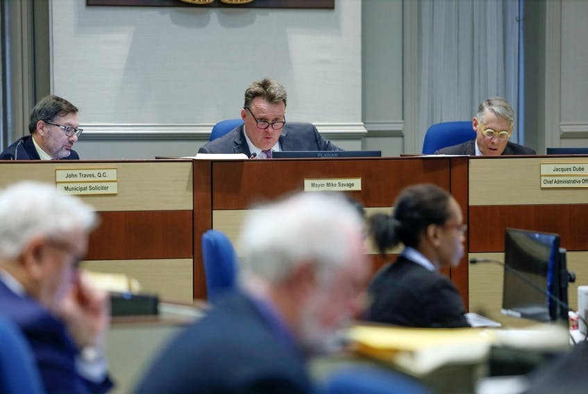 Jan. 14, 2020—File shot of Municipal Solicitor John Traves, left, Mayor Mike Savage, centre, and Chief Administrative Officer Jacques Debé at Halifax Regional Muncipality city council in session Jan. 14, 2020. ERIC WYNNE/Chronicle Herald