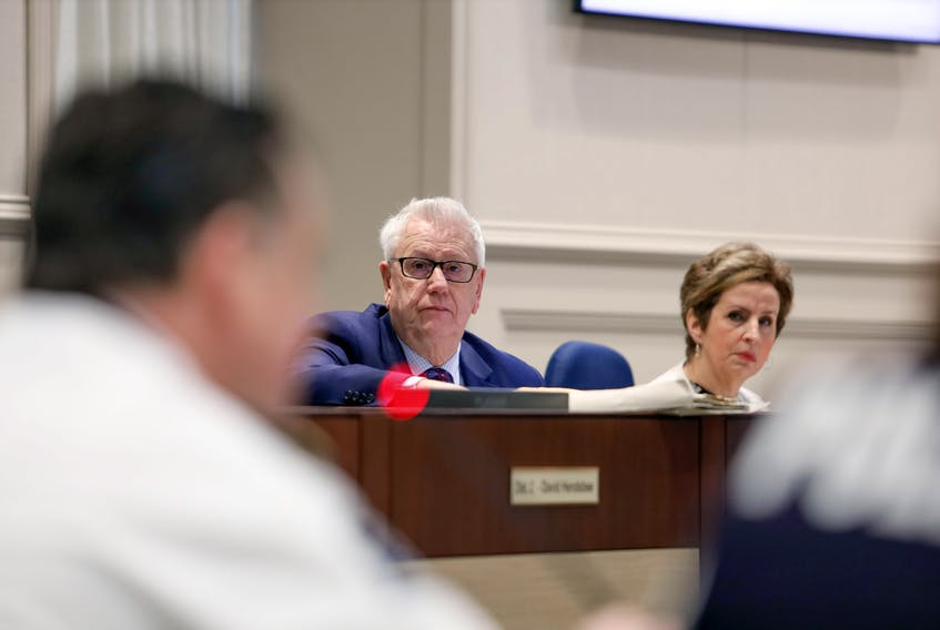 Jan. 14, 2020—File shot of District 3 Councillor Bill Karsten and District 4 Councillor Lorelei Nicoll at Halifax Regional Muncipality city council in session Jan. 14, 2020. ERIC WYNNE/Chronicle Herald