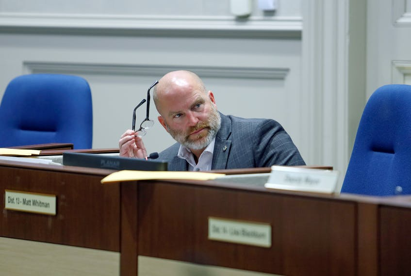 Jan. 14, 2020—File shot of District 13 Councillor Matt Whitman Halifax Regional Muncipality city council in session Jan. 14, 2020. ERIC WYNNE/Chronicle Herald