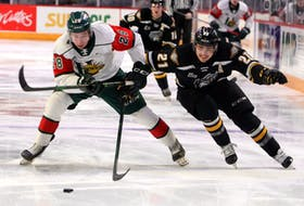 Mooseheads' Stephen Davis and Screaming Eagles' Liam Kidney tangle for control of the puck in the Halifax end early in the first period at the Scotiabank Centre Saturday.