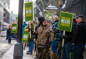 Hundreds of forestry workers and supporters gather for a rally in front of Province House on Thursday, Dec. 19, 2019. Northern Pulp says it will shut down its Pictou Country mill if the government doesn't extend the Boat Harbour Act deadline.