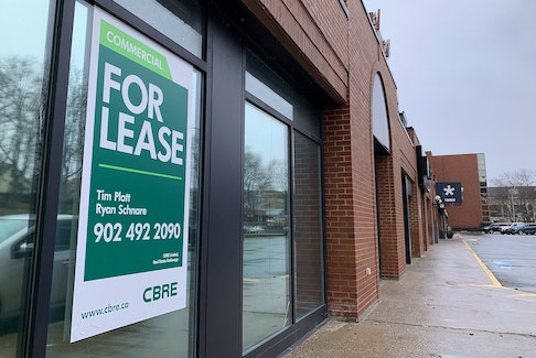 A For Lease sign outside a commercial property in downtown Halifax on Thursday.