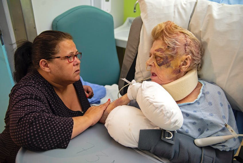Tina Williams talks with her 73-year-old mother Nancy Kelsie at the Halifax Infirmary on Thursday, Jan. 30, 2020. Kelsie was injured on Jan. 21 at the Melville Lodge nursing home.
