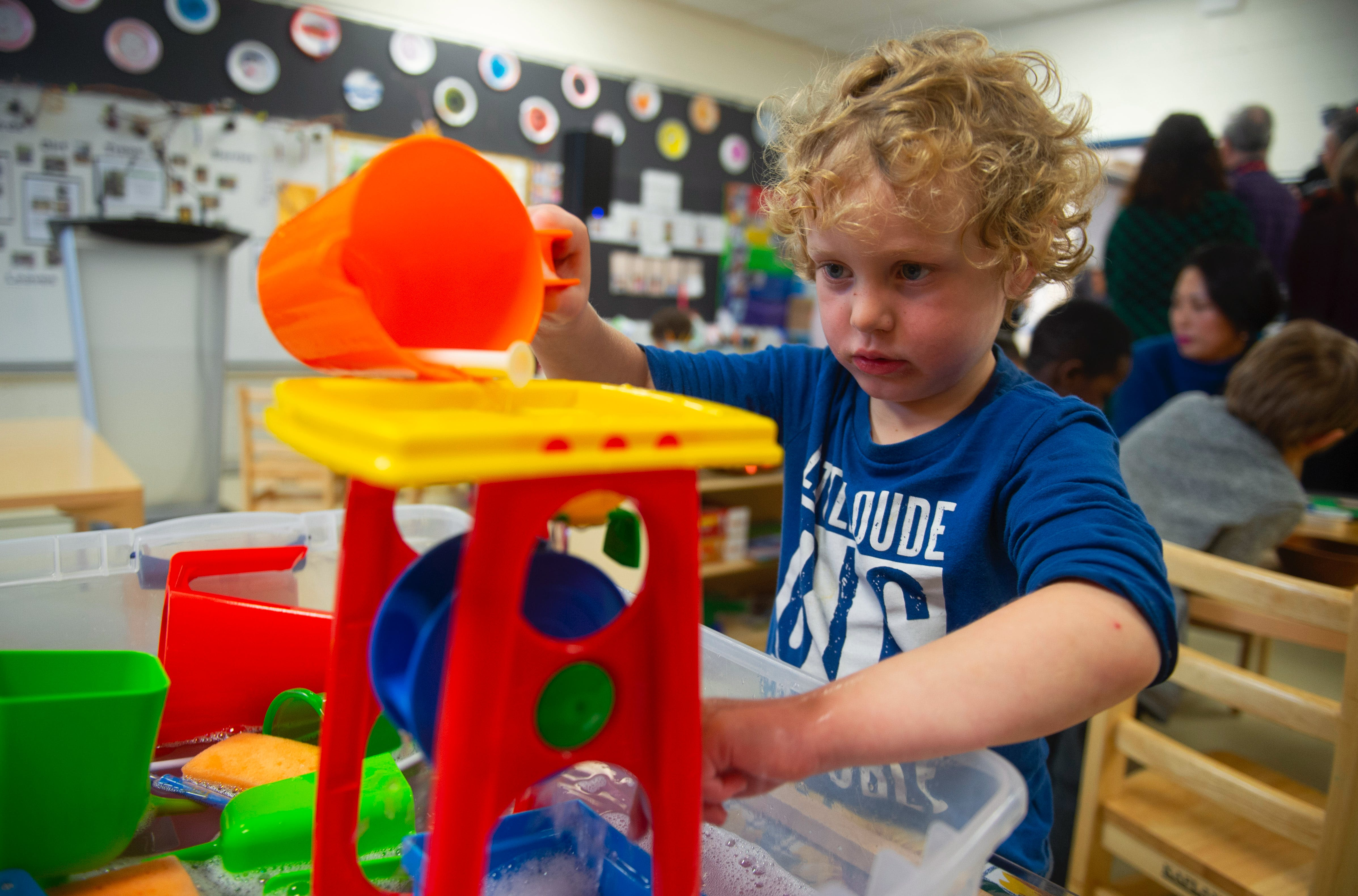 Pre-primary student Noah Grover plays in his classroom prior to an announcement at Chebucto Heights Elementary on Tuesday, February 11, 2020. The pre-primary program is being expanded to the remaining 48 schools who didn't already have it.