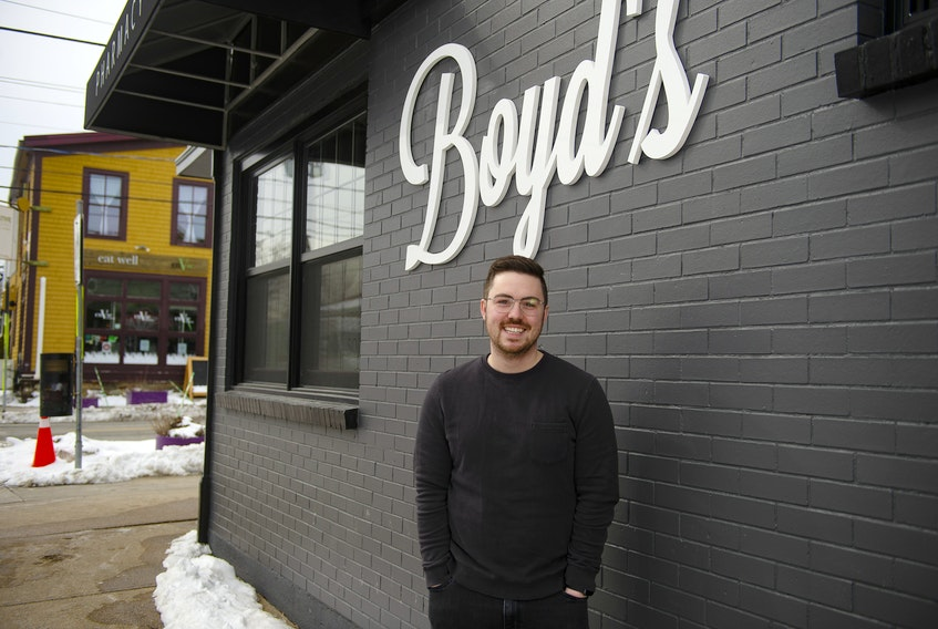 Greg Richard poses for a photo outside his new pharmacy Boyd's Pharmasave in the former Smith's Bakery building on Agricola St. on Monday, Feb. 22, 2021. Richard is planning to be open by the end of the month.