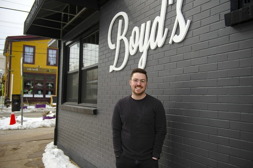 Greg Richard poses for a photo outside his new pharmacy Boyd's Pharmasave in the former Smith's Bakery building on Agricola St. on Monday, Feb. 22, 2021.  - Ryan Taplin