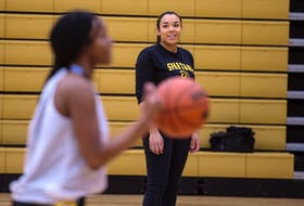Dartmouth Spartans girls' basketball head coach Marika Williams watches her players during practice at Dartmouth High on Monday. The Spartans enter this weekend's NSSAF championship at Horton High School as the No. 1 seed.