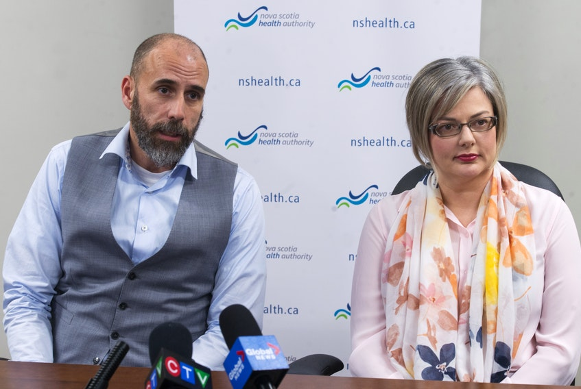 Dr. Todd Hatchette, chief of microbiology with the Nova Scotia Health Authority and Bethany McCormick, senior director of strategy, planning and performance at the NSHA, speak at a COVID-19 press conference in Bayers Lake on Thursday, March 12, 2020.