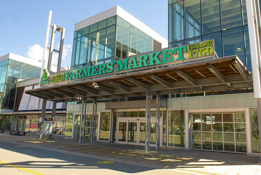 Exterior of the Halifax Seaport Farmers' Market. Photo taken on May 6, 2020.