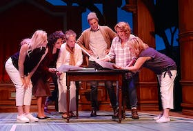 The cast of Neptune Theatre's production of Calendar Girls, from left to right: Francine Deschepper, Sharleen Kalayil, Marlane O'Brien, Zach Faye, Shelley Thompson, and Martha Irving.
